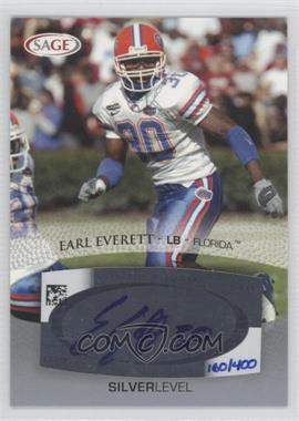 2007 SAGE Autographed Football - Autographs - Silver #A16 - Earl Everett /400