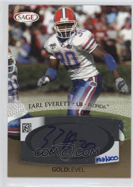 2007 SAGE Autographed Football Autographs Gold #A16 - Earl Everett /200