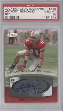 2007 SAGE Autographed Football Autographs Red #A20 - Anthony Gonzalez [PSA10]