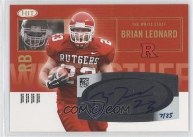 2007 SAGE Hit - The Write Stuff - Autographs [Autographed] #WSA-6 - Brian Leonard /25