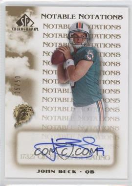 2007 SP Chirography Notable Notations #NN-JB - John Beck /50