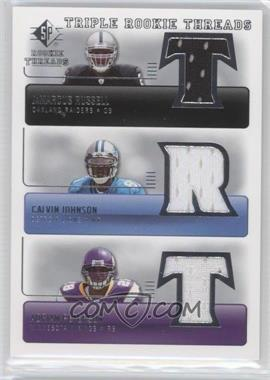 2007 SP Rookie Threads - Triple Rookie Threads #TRT-JRP - JaMarcus Russell, Calvin Johnson, Adrian Peterson