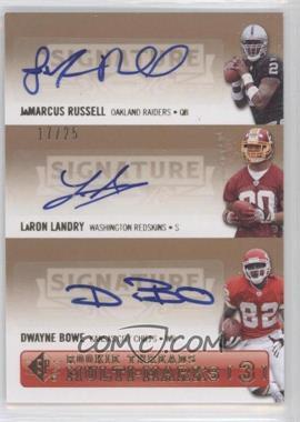 2007 SP Rookie Threads [???] #SPM3-RLB - JaMarcus Russell, Dwayne Bowe, LaRon Landry /25