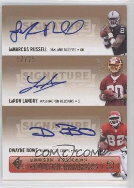 2007 SP Rookie Threads [???] #SPM3-RLB - JaMarcus Russell, Dwayne Bowe /25