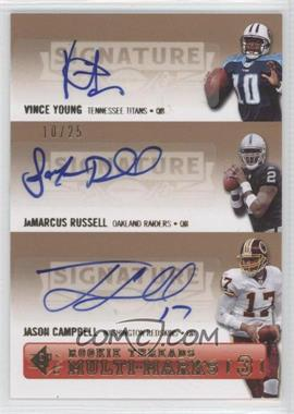 2007 SP Rookie Threads [???] #SPM3-YRC - Vince Young, JaMarcus Russell, Jason Campbell /25