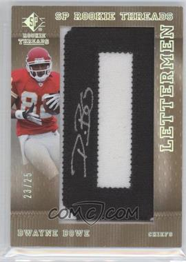 2007 SP Rookie Threads Ltteremen Black #150 - Dwayne Bowe /25
