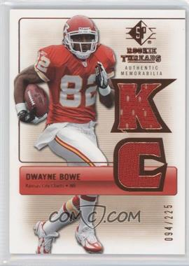 2007 SP Rookie Threads Rookie Threads Bronze #RT-DB - Dwayne Bowe /225