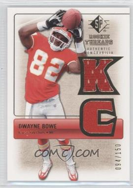 2007 SP Rookie Threads Rookie Threads Gold #RT-DB2 - Dwayne Bowe /150