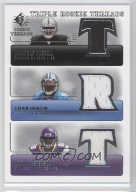 2007 SP Rookie Threads Triple Rookie Threads #TRT-JRP - JaMarcus Russell, Calvin Johnson, Adrian Peterson