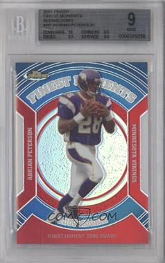 2007 Topps Finest Rookie Finest Moments Refractor #RFM-AP - Adrian Peterson [BGS 9]