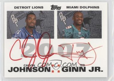 2007 Topps Rookie Premiere Quad Autographs Red Ink #N/A - Calvin Johnson, Ted Ginn, Dwayne Bowe, Rob Meier