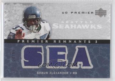 2007 UD Premier Premier Remnants 3 Silver #PR3-SA - Shaun Alexander /99