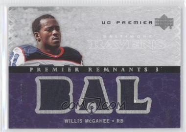 2007 UD Premier Premier Remnants 3 Silver #PR3-WM - Willis McGahee /99
