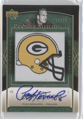 2007 UD Premier Premier Stitchings Draft Logo Autographs [Autographed] #PS-74 - Paul Hornung