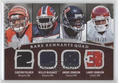 2007 UD Premier Rare Remnants Quad #RR4-PJMJ - Larry Johnson, Andre Johnson, Carson Palmer, Willis McGahee /25