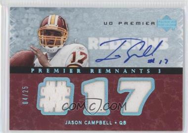 2007 UD Premier Remnants 3 Platinum Autographs [Autographed] #PR3-JC - Jason Campbell /25