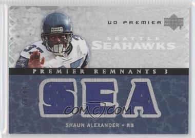 2007 UD Premier Remnants 3 Silver #PR3-SA - Shaun Alexander /99