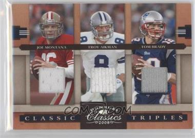 2008 Donruss Classics Classic Triples Jerseys [Memorabilia] #CT-10 - Joe Montana, Troy Aikman, Tom Brady /250