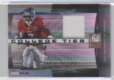 2008 Donruss Elite - College Ties - Jerseys Prime [Memorabilia] #CT-11 - Aqib Talib /50