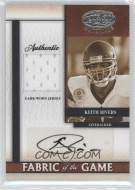 2008 Leaf Certified Materials - Fabric of the Game Collegiate - Signatures [Autographed] #FOGC-14 - Keith Rivers /10