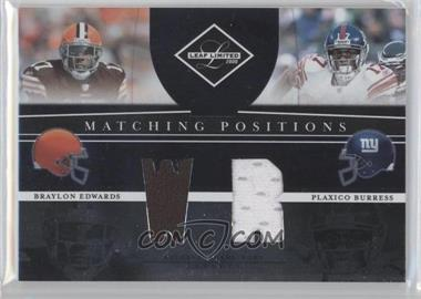 2008 Leaf Limited Matching Positions #MP-8 - Plaxico Burress, Braylon Edwards /100