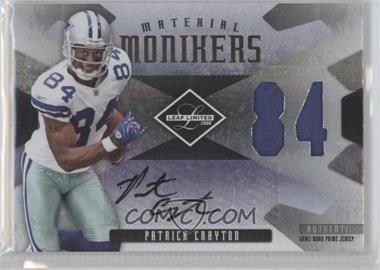 2008 Leaf Limited Material Monikers Jersey Numbers Prime #MM-29 - Patrick Crayton /25
