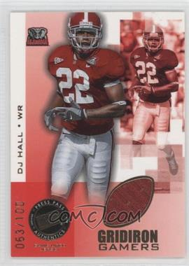 2008 Press Pass Gridiron Gamers Gold #GG-DH - DJ Hall /100