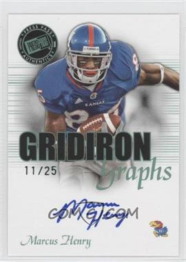 2008 Press Pass SE Gridiron Graphs Green #GG-2 - Marcus Henry /25