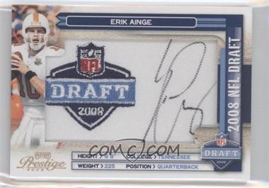 2008 Prestige NFL Draft Class Draft Logo Patch Signatures [Autographed] #NFLC-3 - Erik Ainge /250