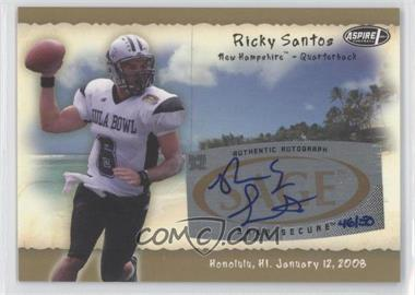 2008 SAGE Aspire Hula Bowl All-Star Game Autographs Gold #H22 - Ricky Santos /50
