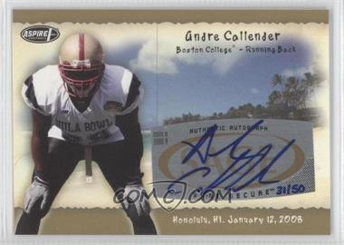 2008 SAGE Aspire Hula Bowl Autographs Gold #H4 - Andre Callender /50