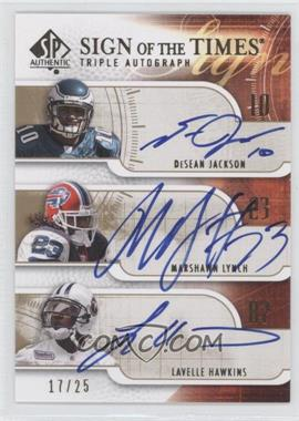 2008 SP Authentic - Sign of the Times - Triple #SOTT-LJH - Marshawn Lynch, Lavelle Hawkins /25