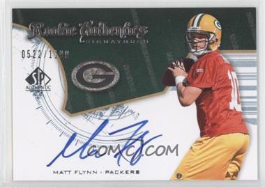 2008 SP Authentic #228 - Rookie Authentics Signatures - Matt Flynn /1199