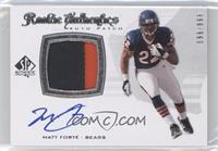 Rookie Authentics Auto Patch - Matt Forte /999