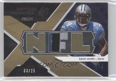 2008 SPx Winning Materials Single Patch NFL Letters #WM-KS - Kevin Smith /25