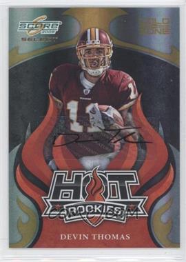 2008 Score Select - Hot Rookies - Gold Zone Autographs [Autographed] #HR-6 - Devin Thomas /40