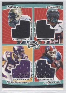 2008 Topps Rookie Progression Quad Jersey Relics #PQR-1 - Tashard Choice, Matt Forte, Adrian Peterson, Marshawn Lynch