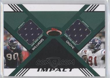 2008 Topps Stadium Club - Impact Dual Relics - Gold #DR-WO - Mario Williams, Amobi Okoye /10