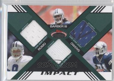2008 Topps Stadium Club Impact Triple Relic #TR-RBO - Tony Romo, Marion Barber, Terrell Owens, Marion Barber III /50