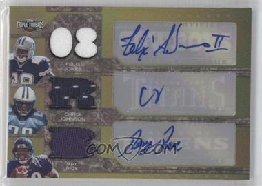 2008 Topps Triple Threads Autographed Relic Combos Gold #TTRCA-4 - Felix Jones, Chris Johnson, Ray Rice /3