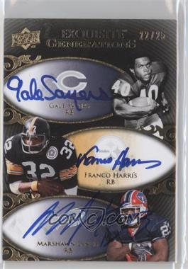 2008 Upper Deck Exquisite Collection Generations Signatures #EGGS-HSL - Franco Harris, Gale Sayers, Marshawn Lynch /25