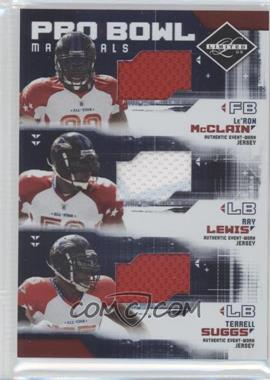 2009 Donruss Limited - Pro Bowl Materials Trios #4 - Le'Ron McClain, Ray Lewis, Terrell Suggs /100