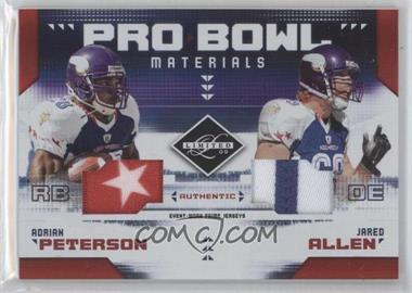 2009 Donruss Limited Pro Bowl Materials Duos Prime #11 - Adrian Peterson, Jared Allen /25