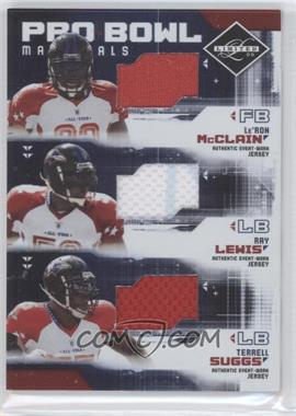 2009 Donruss Limited Pro Bowl Materials Trios #4 - Le'Ron McClain, Ray Lewis, Terrell Suggs /100