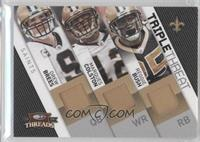 Reggie Bush, Drew Brees, Marques Colston /50