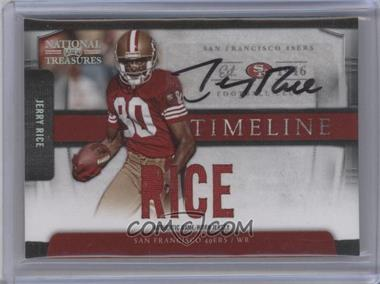 2009 Playoff National Treasures - Timeline Materials - Custom Names Signatures [Autographed] #12 - jerry rice /15