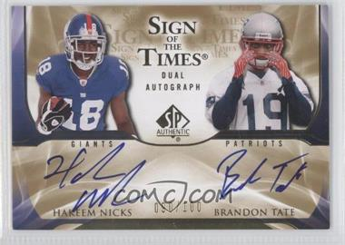 2009 SP Authentic Sign of the Times Dual Autographs #ST2-2 - Hakeem Nicks, Brandon Tate /100
