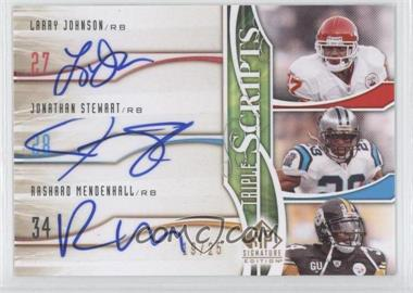 2009 SP Signature Edition Triple Scripts #TR-JMS - Rashard Mendenhall, Larry Johnson, Jonathan Stewart /25