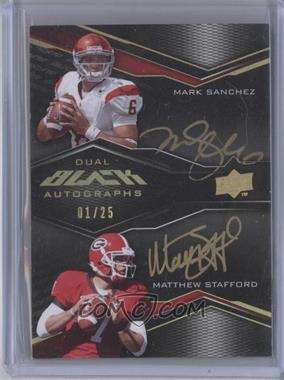 2009 Upper Deck Black Dual Autographs #2A-SS - Mark Sanchez, Matthew Stafford /25
