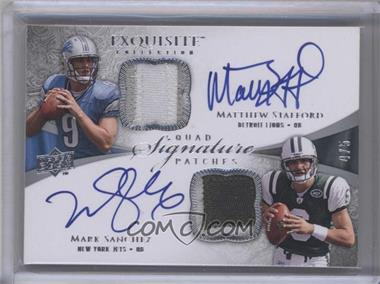 2009 Upper Deck Exquisite Collection Quad Signature Patches #SQP-SBSF - Josh Freeman, Matthew Stafford, Mark Sanchez, Rhett Bomar /5